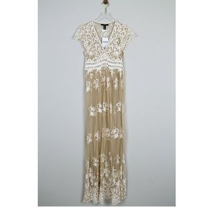 NWT Forever 21 Knit Dress Nude Cream Sheer Maxi